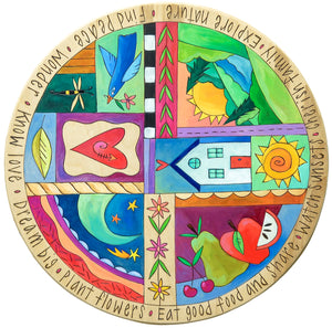 "20"" Lazy Susan –  Playful crazy quilt lazy susan design with patches showing a starry sky, fruit, and a landscape scene"