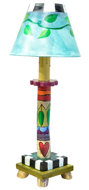 Log Candlestick Lamp – Cute and colorful lamp with a vine wrapped shade and crazy quilt base front view