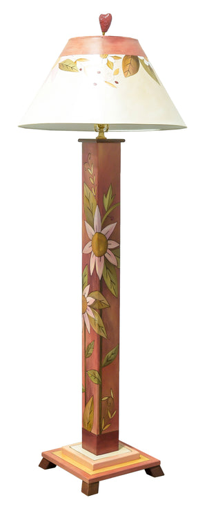 Box Floor Lamp – Sweet and simple red and pink toned floral floor lamp front view
