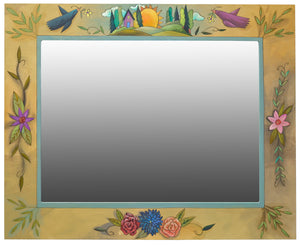 Rectangular Mirror – Classic floral and landscape themed mirror with beautifully painted shadowing