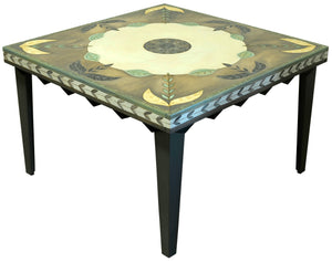 Square Dining Table –  Gorgeous understated botanical table design with scratchboard and whitewash treatments main view