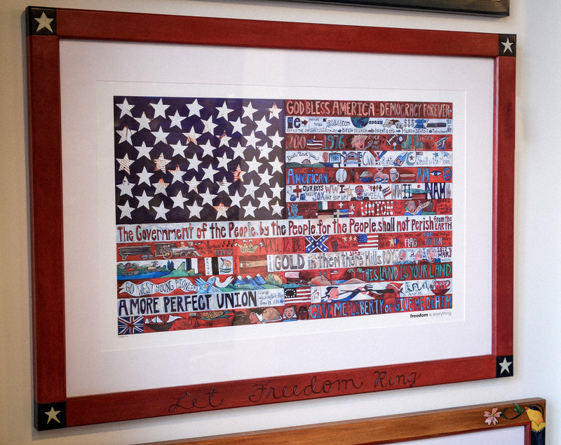 Framed American Flag Poster –  American Flag poster print in a beautiful handmade frame