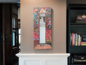 """Creative Heart"" Mirror – ""Seize the day"" crazy quilt motif with striking, abstract mark-making patches displayed in a home"