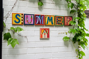 "Sincerely, Sticks alphabet letter plaques spelling out the word ""Summer"""