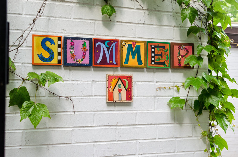 "Sincerely, Sticks printed letter plaques spelling out the word ""Summer"""