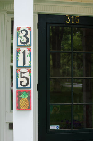Example of Sincerely, Sticks house numbers plaque hung vertically with pineapple icon plaque