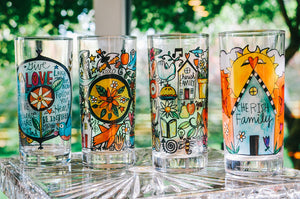 Mixed Set Drinking Glasses – Cheers to cute glassware by Sticks, this set features one of each of our four designs displayed in a home's sunroom