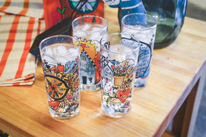 Mixed Set Drinking Glasses – Cheers to cute glassware by Sticks, this set features one of each of our four designs displayed with ice water on a kitchen island