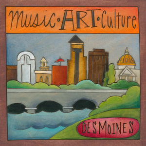 """DSM515"" Plaque – ""Music, Art, Culture"" plaque with Des Moines motif front view"