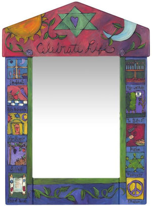 "Medium Mirror –  ""Celebrate Life"" symbolic Judaica mirror with sun and moon motif"