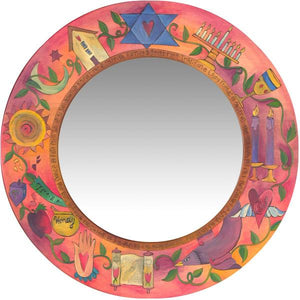 Large Circle Mirror –  Rosy and pastel Judaica mirror with symbolic elements