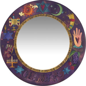 "Large Circle Mirror –  Handsome Judaica mirror with symbolic elements, ""Celebrate Life"""