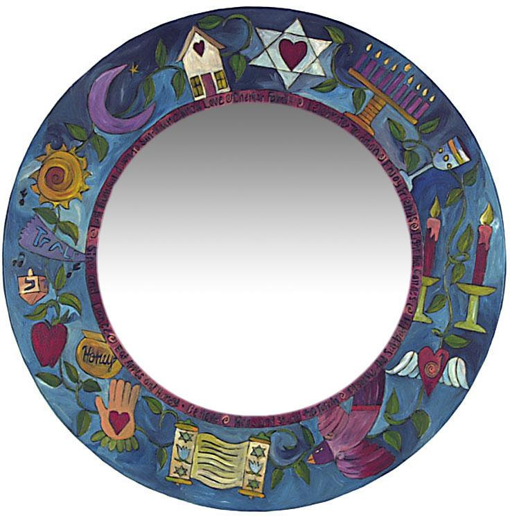 Large Circle Mirror –  Elegant Judaica mirror with symbolic elements
