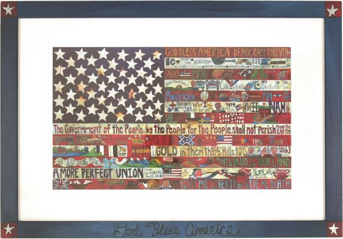 Framed American Flag Lithograph 2001 Edition –  American Flag litho print in a beautiful handmade frame