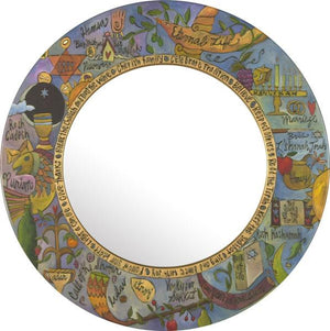 Large Circle Mirror –  Judaica mirror with colorful symbolic elements