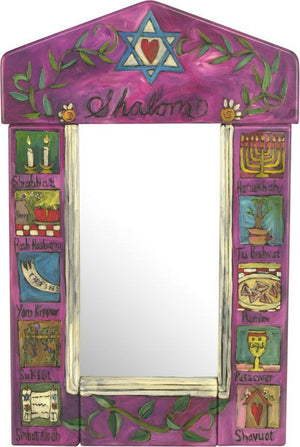 "Small Mirror –  ""Shalom"" mirror with Star of David and vine motif"