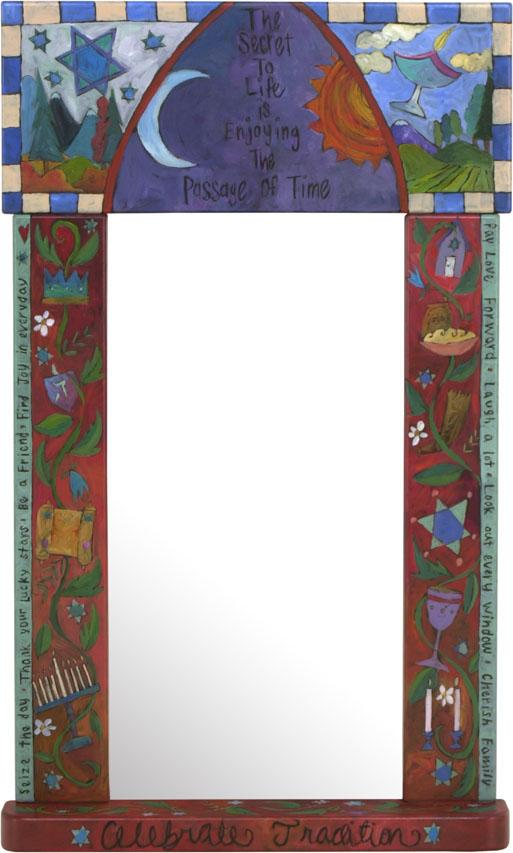 "Large Mirror –  ""The Secret to Life is Enjoying the Passage of Time"" symbolic Judaica mirror"