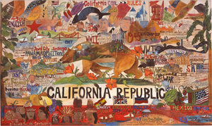 "California Republic Flag Plaque –  ""California Cool"" California Republic flag plaque with California motif"