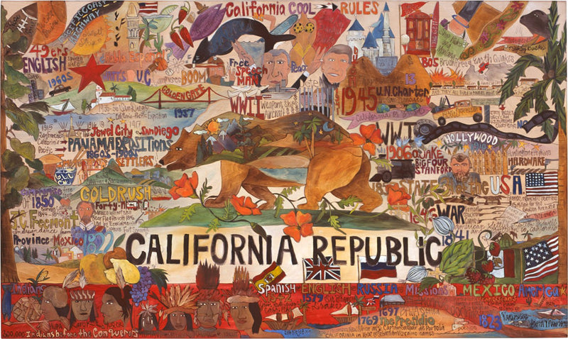 California Republic Flag Lithograph –  Beautiful and colorful California Republic lithograph print