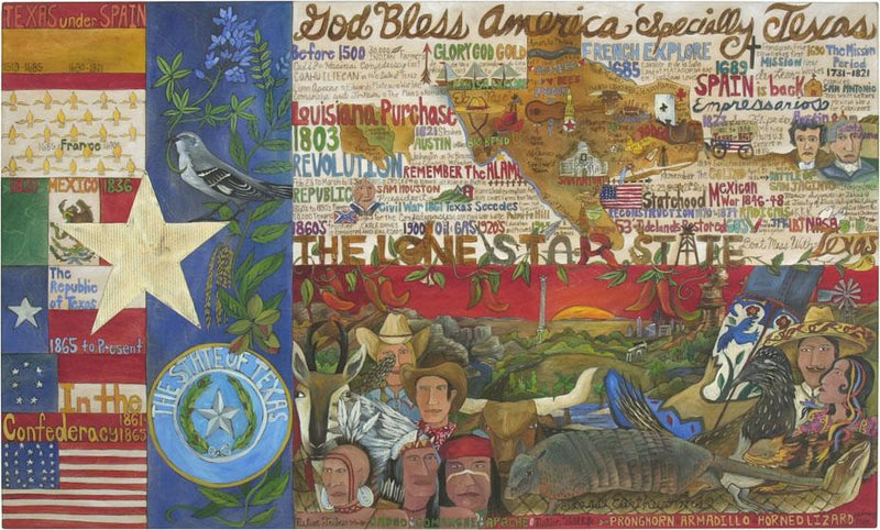 Texas Flag Lithograph –  Beautiful and ornate litho print honoring the state and flag of Texas