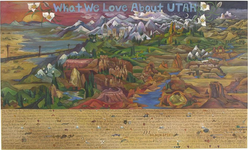 "WWLA Utah Plaque –  ""What We Love About Utah"" plaque with sun and moon over beautiful landscape of Utah motif"
