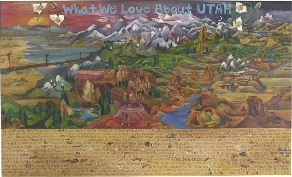 "WWLA Utah Lithograph –  ""What We Love About Utah"" lithograph with sun and moon over beautiful Utah landscape motif"