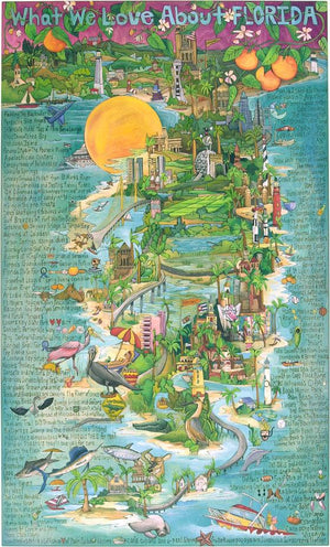 "WWLA Florida Lithograph –  ""What We Love About Florida"" lithograph with beautiful landscape of Florida motif"