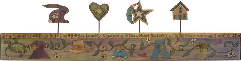 Sticks handmade coat rack with playful folk art vine and finials