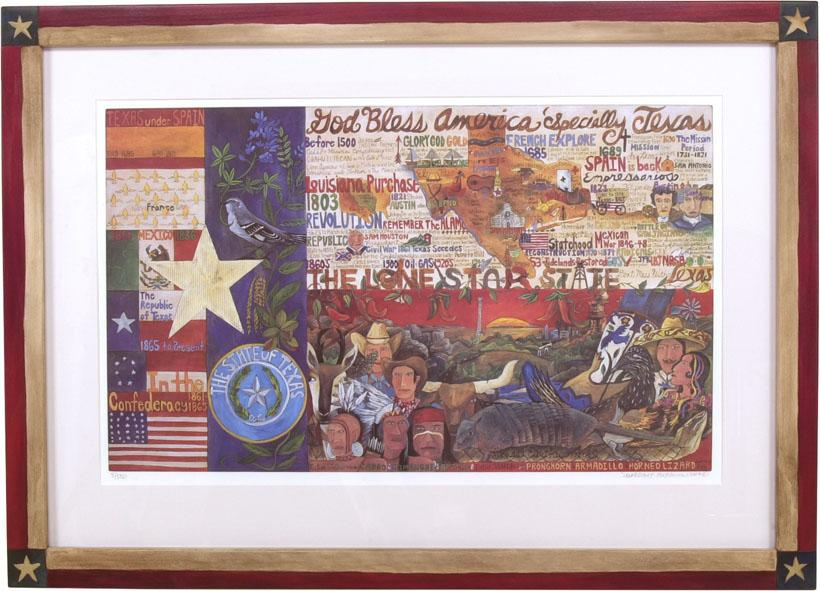 Framed Texas Flag Lithograph –  Beautiful Texas flag litho print in a handcrafted Sticks frame