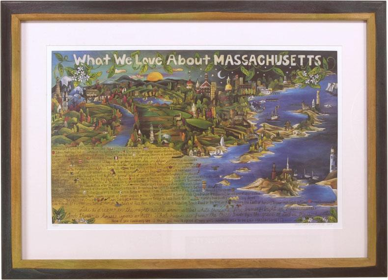 "Framed WWLA Massachusetts Lithograph –  ""What We Love About Massachusetts"" litho print in a handcrafted Sticks frame"