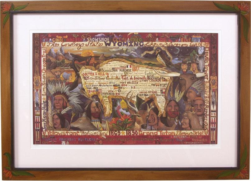 "Framed Wyoming Flag Lithograph –  ""The Cowboy State"" framed lithograph with buffalo motif"