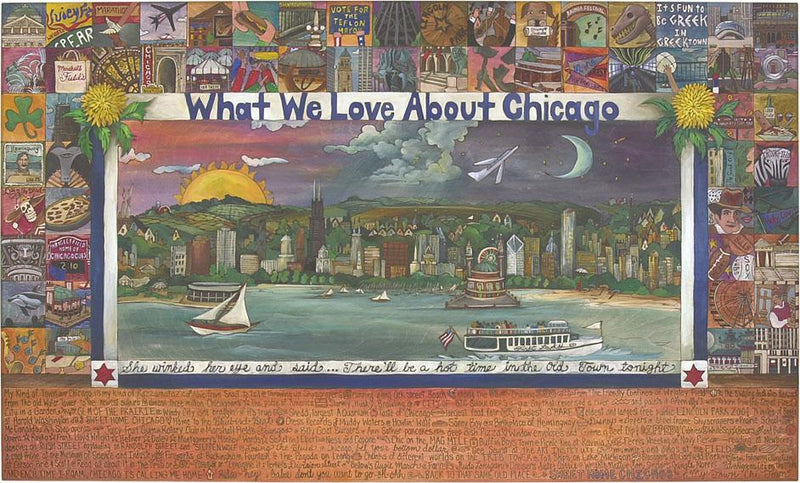 WWLA Chicago Lithograph –  Handsomely detailed litho print honoring What We Love About Chicago