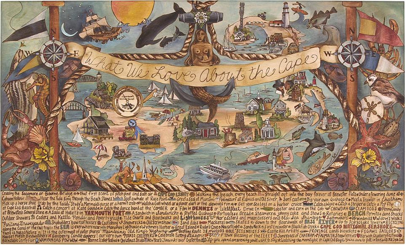 "WWLA The Cape Lithograph –  ""What We Love About The Cape"" lithograph with nautically themed motif"