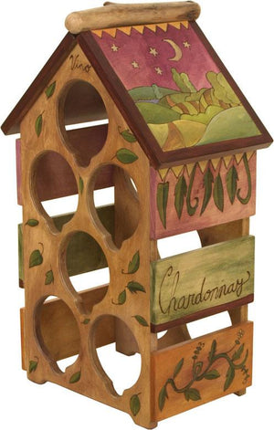 Sticks handmade wine rack with elegant color palette
