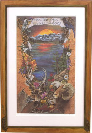"Framed WWLA Tahoe Lithograph –  ""What We Love About Tahoe"" litho print in a handcrafted Sticks frame"