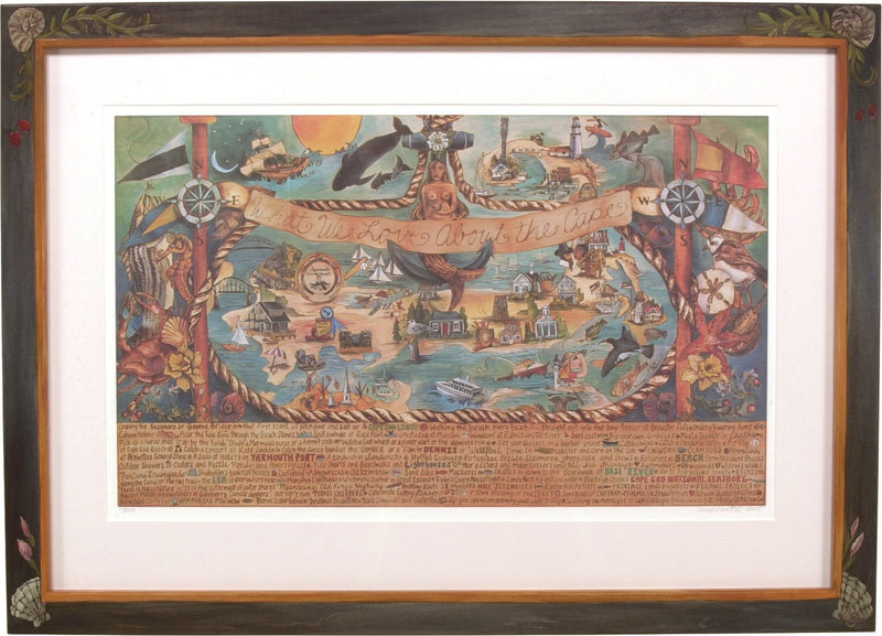 "Framed WWLA The Cape Lithograph –  ""What We Love about the Cape"" framed lithograph with nautically themed motif"