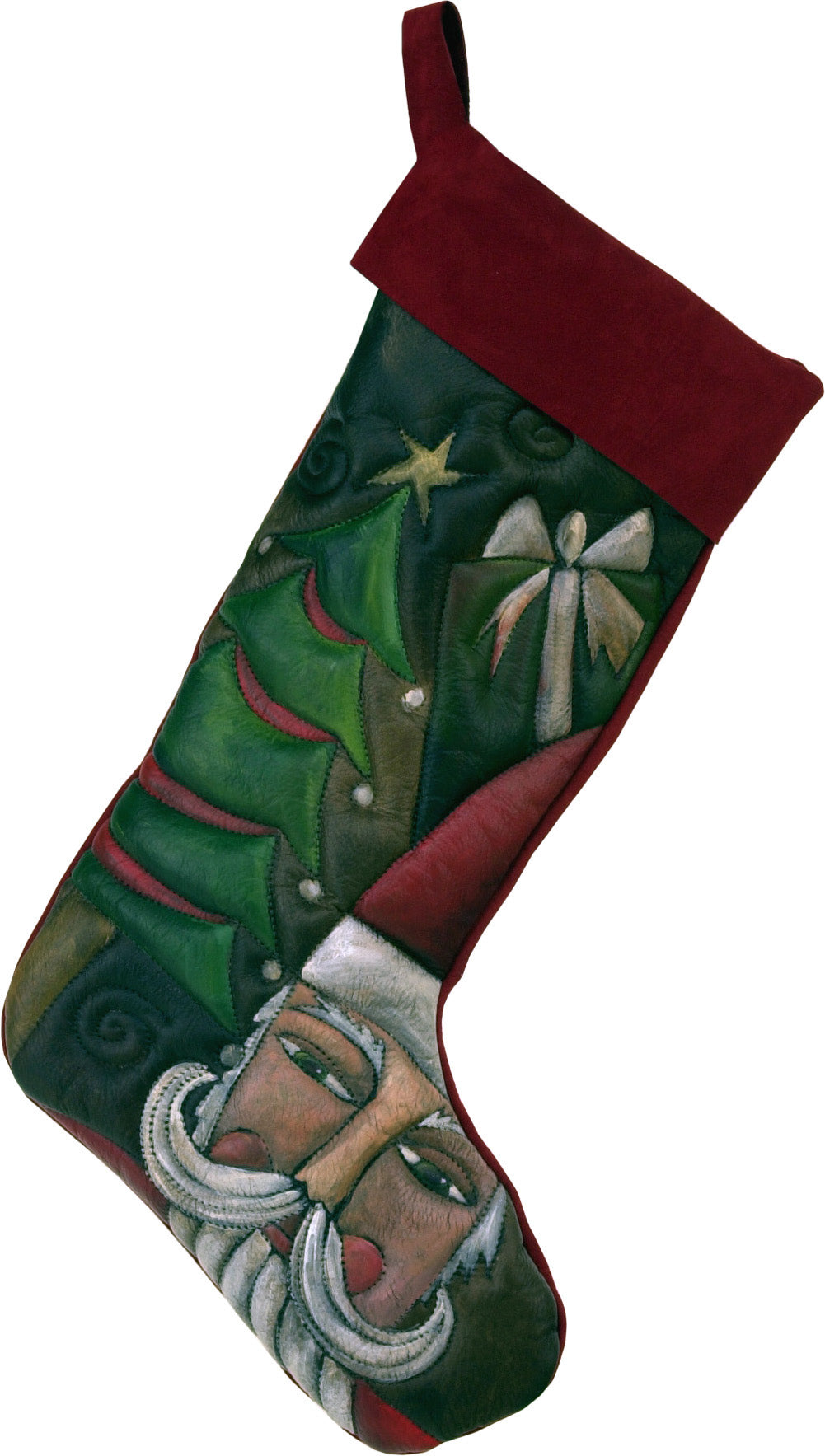 Leather Stocking –  Santa delivering gifts under a Christmas tree stocking motif