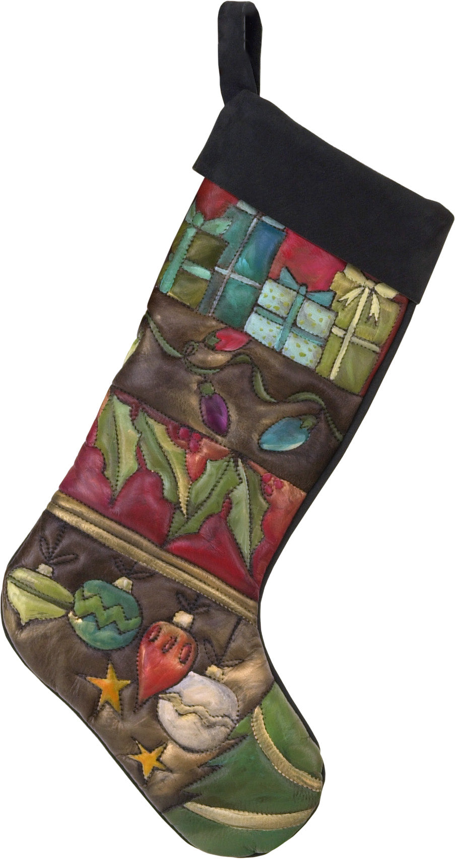 Leather Stocking –  Gorgeous classic Christmas stocking in a crazy quilt motif