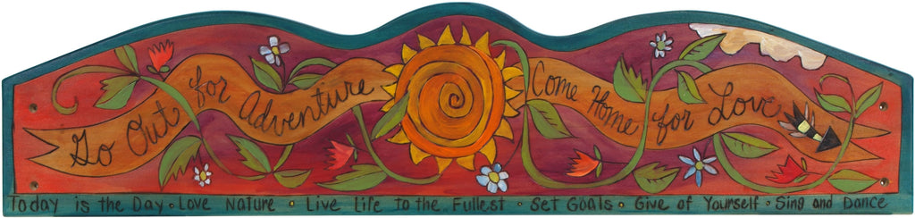 "Door Topper –  ""Go Out for Adventure, Come Home for Love"" Sun centered door topper with flowing vines and flowers"