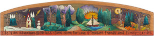 Door Topper –  Four seasons landscape door topper with inspirational words and sun and moon motif
