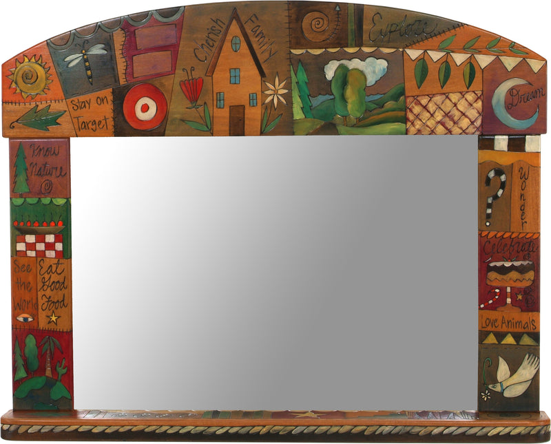 "Large Horizontal Mirror –  ""Cherish Family, Explore"" cozy crazy quilt mirror design"