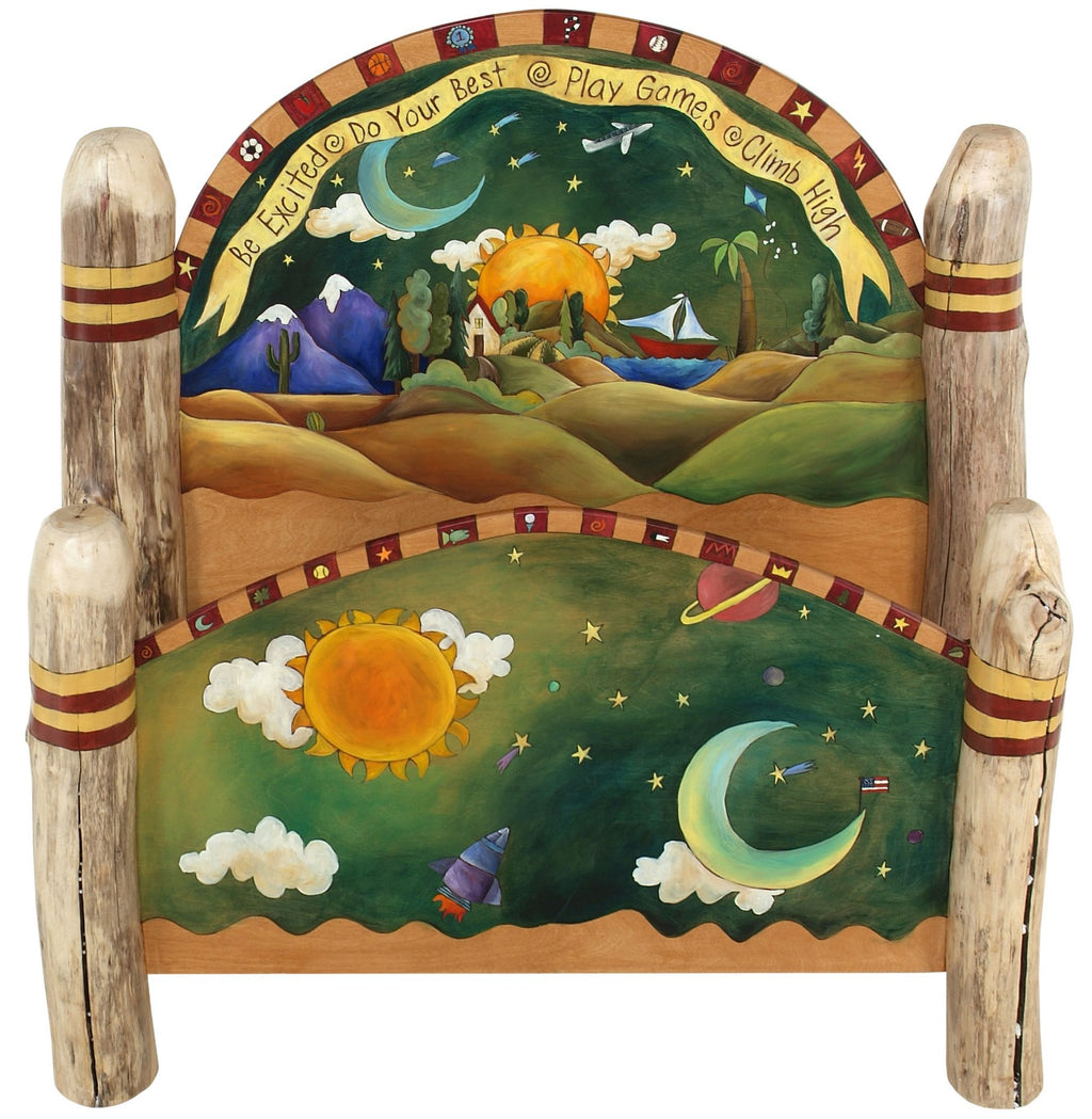 "Full Bed –  ""Be Excited/Do Your Best"" full bed frame with sun and moon motif"