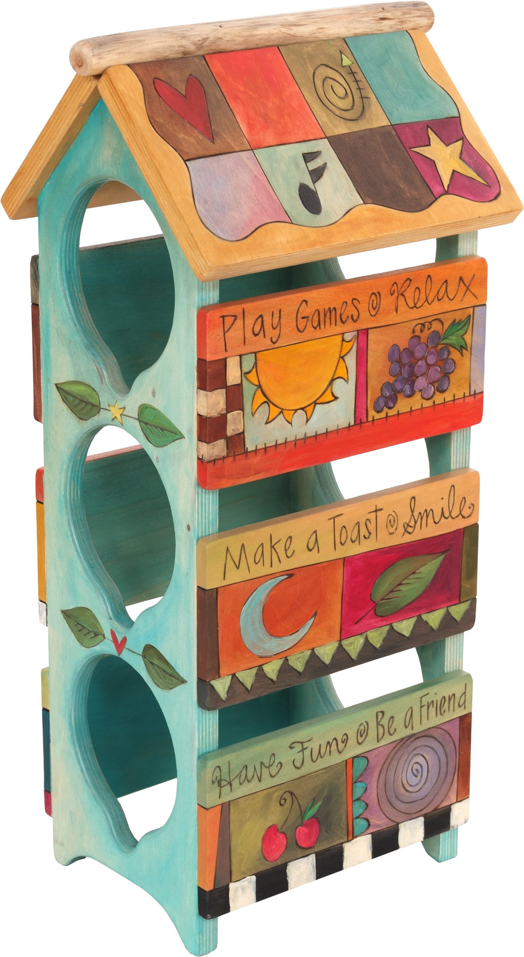 Sticks handmade wine rack with colorful life icons and teal base coat