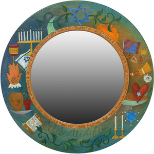 "Large Circle Mirror –  ""Celebrate Life"" Judaica mirror with symbolic elements"