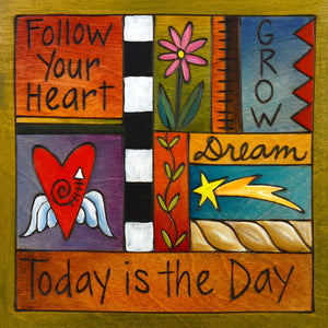 """Daily Affirmation"" Plaque – A crazy quilt design featuring inspiring phrases front view"