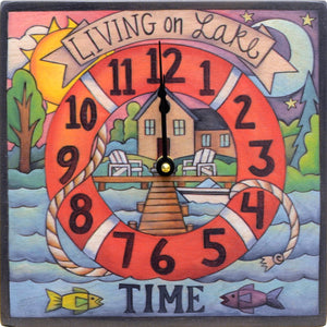 """Dock Time"" Square Clock – ""Living on lake time"" dock and lifesaver design front view"