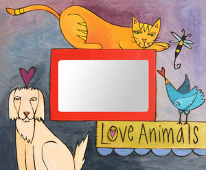"""Dogs & Cats & Birds Oh My"" Picture Frame – ""Love Animals"" colorful picture frame for your favorite pet photos front view"