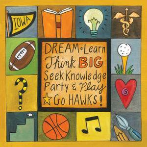 """Dream Big at Iowa"" Plaque – University of Iowa plaque with sports and academics motif main view"