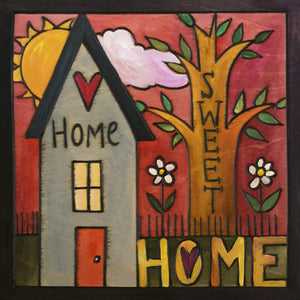 """Everybody's Home"" Plaque – A home and tree of life represent family on this warm plaque front view"