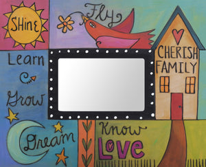 """Everyday Endeavors"" Picture Frame – Learn/Grow/Dream frame with home, sun and moon motif front view"